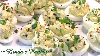 ~jalapeno Cream Cheese Deviled Eggs With Linda's Pantry~