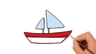 Learn How to draw a sailboat cute - How to draw funny cartoons
