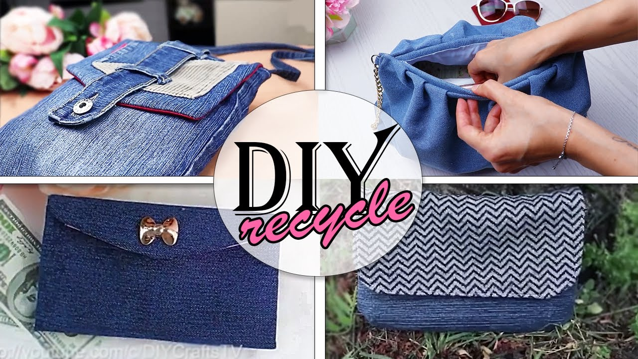 DIY HOW TO RECYCCLE OLD JEANS PURSE BAG IDEAS JUST CUT AND SEW STEPS