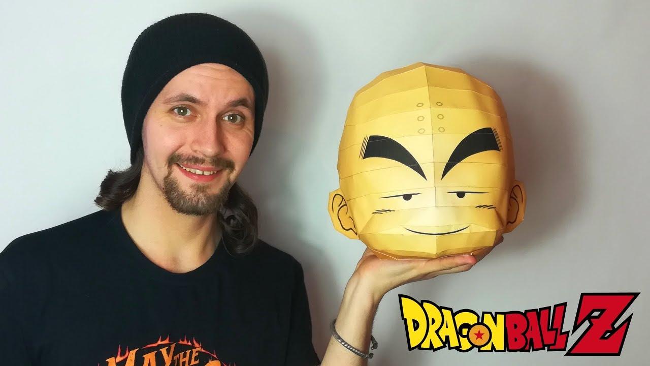 Diy Tête De Krilin Géante En Papier Papercraft Dragon Ball Youtube