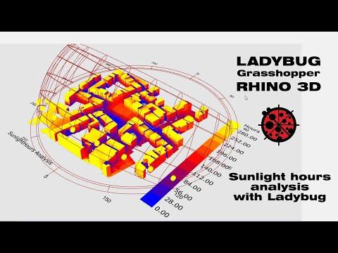 Sunhour analysis in Rhino3d Grasshopper and Ladybug | Tutorial 005