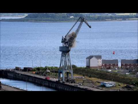 Inchgreen Cranes Demolition River Clyde 16th July 2017