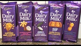 Cadbury Dairy Milk: Caramel Popcorn, Coconut Cashew, Oreo, Chips Ahoy & Peanut Review