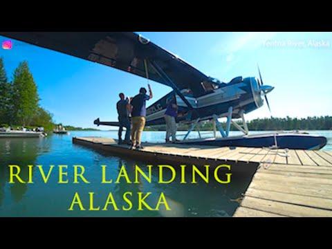 Seaplane River Landing - Flying To An Alaska Fishing Lodge In The Yentna River
