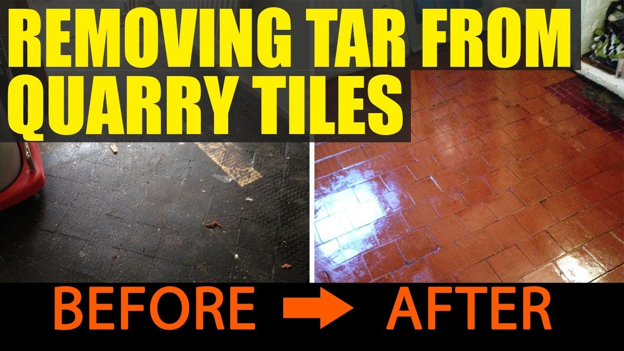 Removing Tar From Quarry Tiles In Rugby YouTube - Removing black tar flooring adhesive