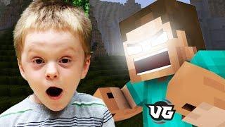 HEROBRINE SCARES LITTLE KID! (Minecraft Herobrine Trolling)