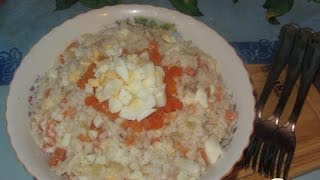 Салат с кальмаром. Пошаговый рецепт