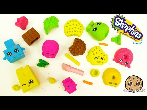 All 4 Shopkins Season 1 Eraser Puzzles 2 Packs - Cookieswirlc Unboxing Video