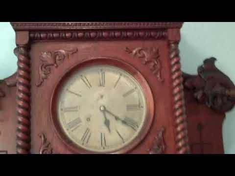 Antique Clock: Coat and Umbrella Rack with Waterbury Clock 1880-1885