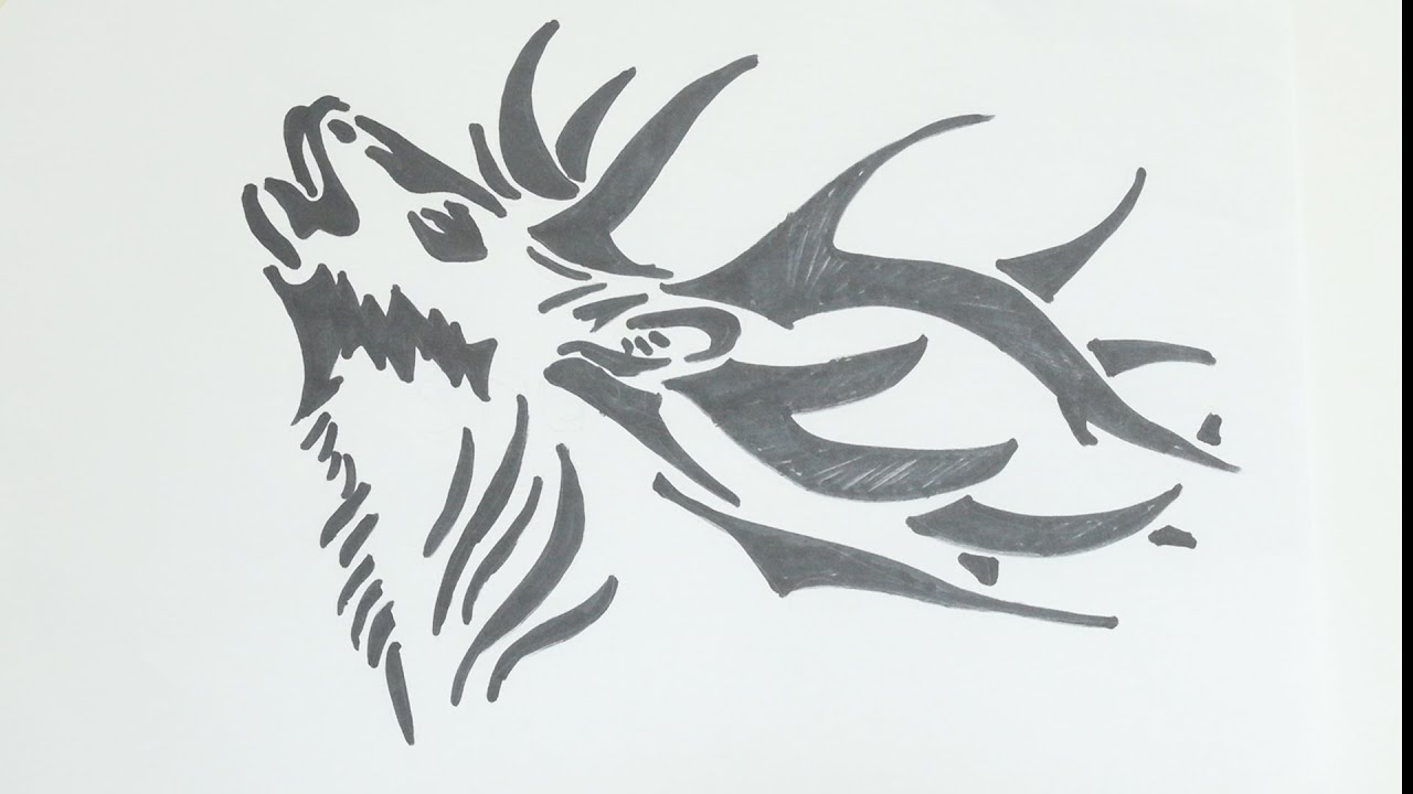 How to draw deer head tribal tattoo