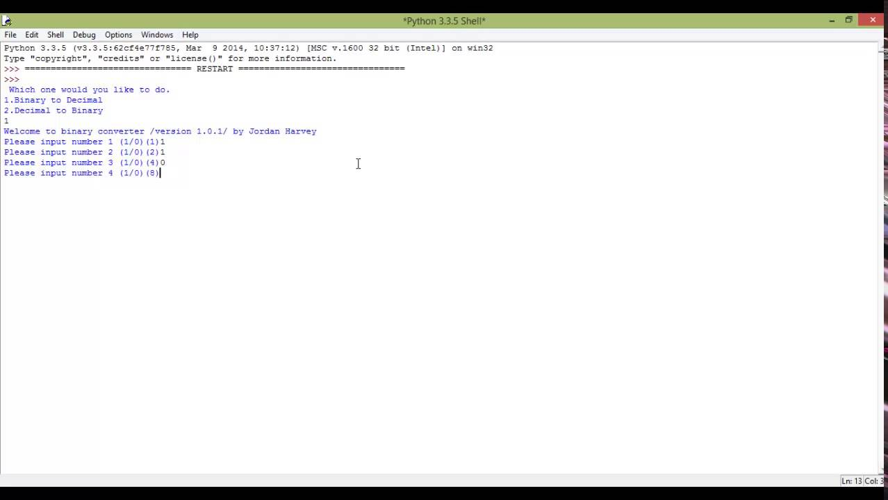 Python tutorial 16 - Binary to decimal converter