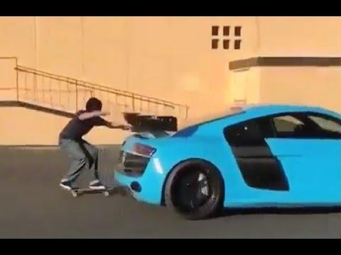 INSTABLAST! Noseslide Nollie Flip 18 Stair Hubba!! Audi R8 Skitch Line!! Drunk Chick Slam!