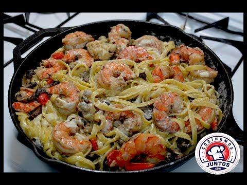 Receta: Pasta Alfredo con camarones y langostas