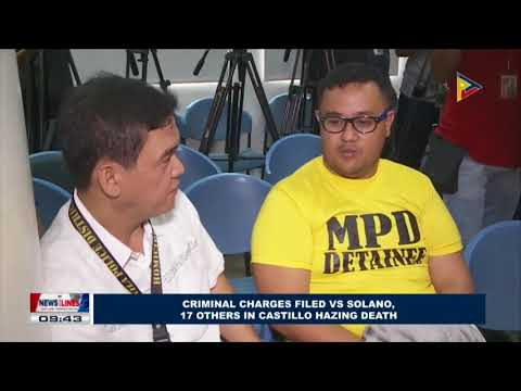 Criminal charges filed vs Solano, 17 others in Castillo hazing death