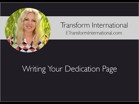 Writing Your Dedication Page