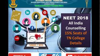 NEET 2018 | ALL INDIA ONLINE COUNSELING | 15% OF TAMILNADU COLLEGES SEATS DETAILS | தமிழ்