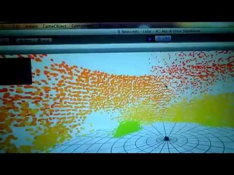 3D ultrasonic sonar mapping on dual axis servos Arduino controlled, Unity3d visualisation.