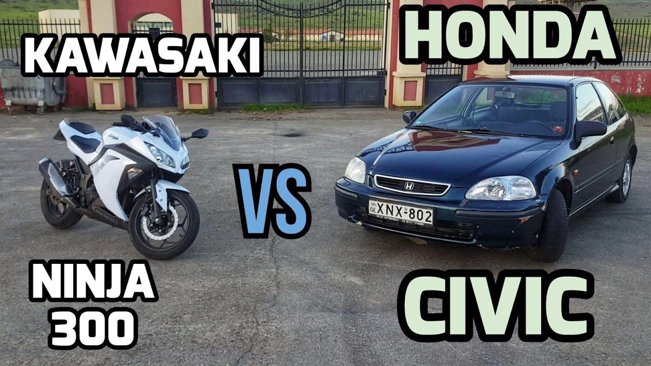 Kawasaki NINJA300 vs Honda CIVIC (1997) – პირველი ქართული მოტოვლოგი #14