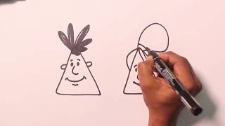 How To Draw Faces - Cartoon Drawings using Triangle Shape""