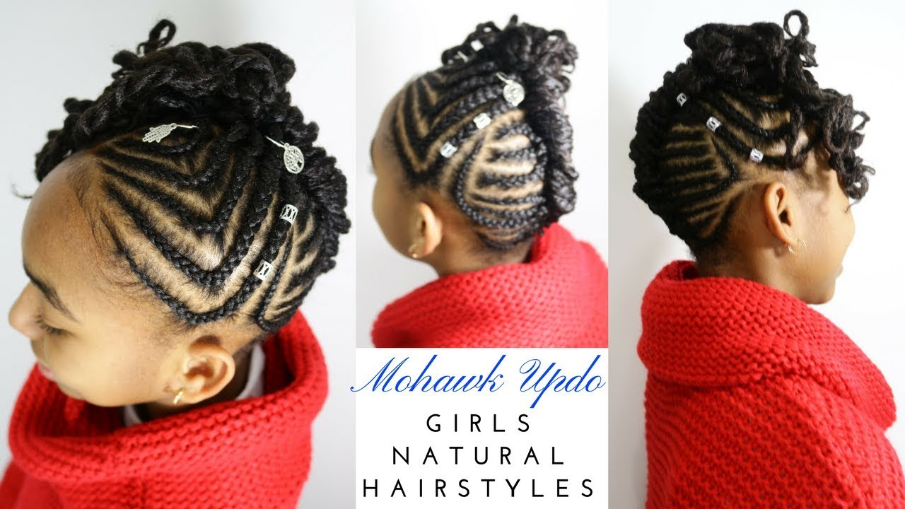 Braided Cornrows Mohawk Updo Girls Natural Hairstyles Youtube