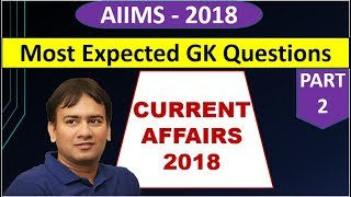 AIIMS 2018 | GK Questions Most Expected | Current affairs | PART - 2