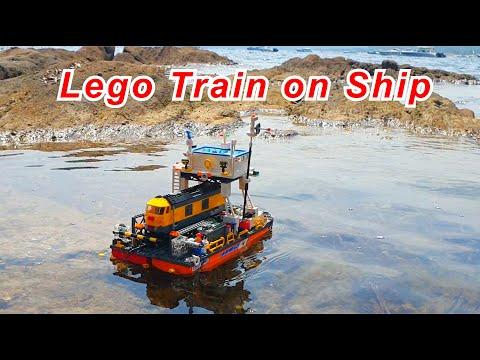 Lego train on a railway ferry ship vessel (MOC)