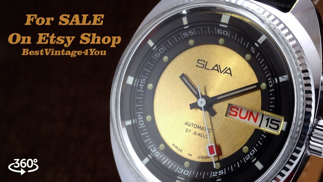 6edb351c7477 Slava Soviet Mens Watch In Near Mint Condition With 27 Jewels Automatic  Movement - For SALE on Etsy
