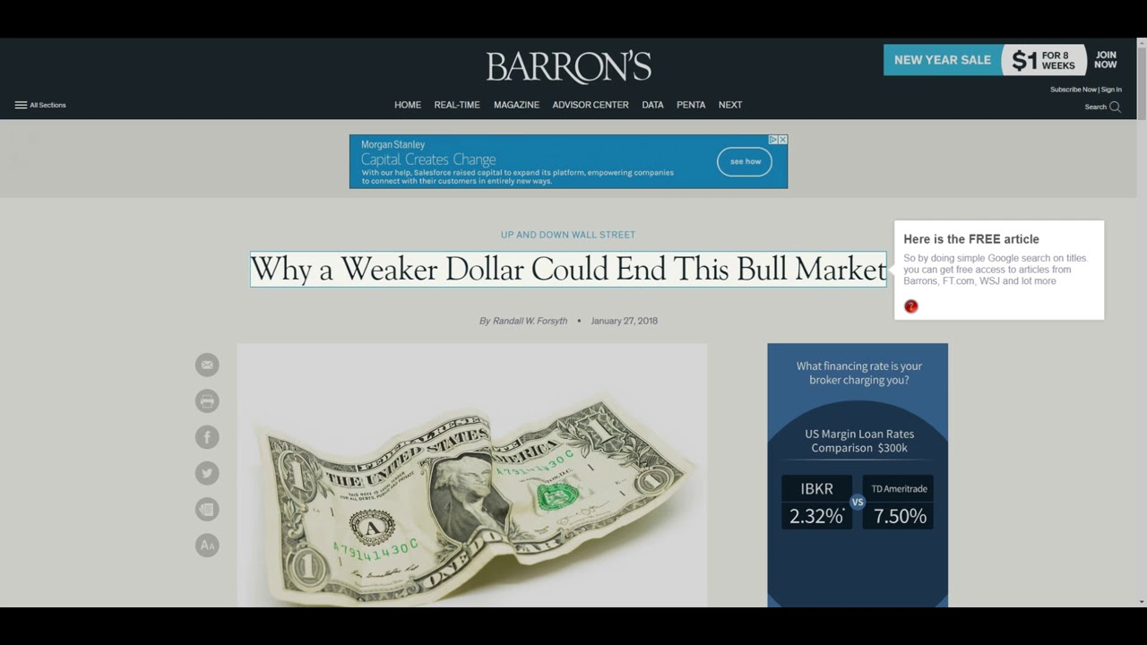How to remove paywall and get free access to articles from @FT, @WSJ  @Barronsonline