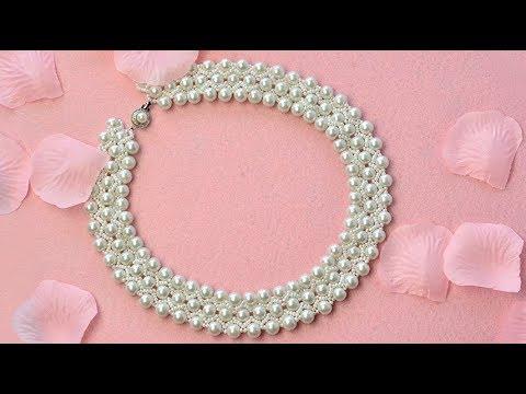 PandaHall Wedding Jewelry Video Tutorial on White Glass Pearl Beads Stitch Bib Necklace