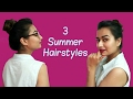 Three Easy Bun Hairstyles for Summers / Everyday hairstyles for long/medium hair
