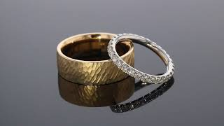 Hammered Gold Men's Wedding Band 6MM - Shown with eternity diamond wedding band