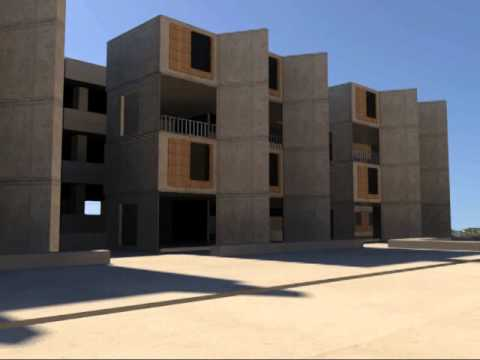 Salk Institute, Louis Kahn, 3dmax