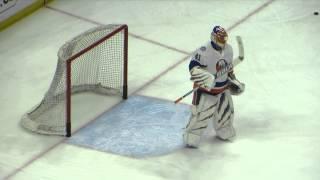 Halak and Johnson during pre-game warm-up at the Islanders @ Senators hockey game