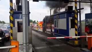 pożar samochodu Renault Trafic autostrada A4 bramki balice 09.06.2015 godz 16,15