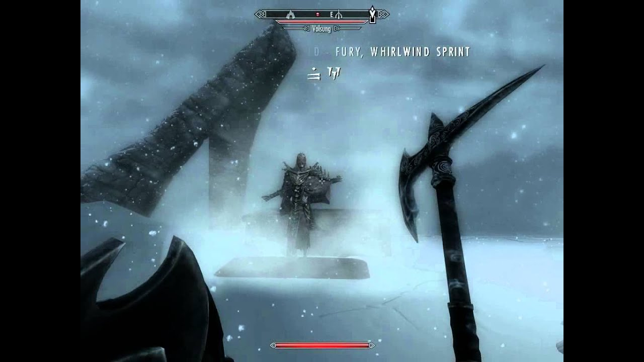 skyrim whirlwind sprint fury and volsung youtube