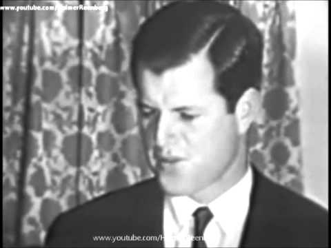November 30, 1963 - Edward Kennedy following visiting Jacqueline Kennedy at Thanksgiving