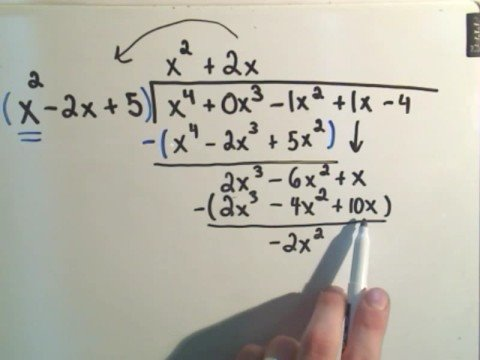 Long Division of Polynomials - A slightly harder example - YouTube