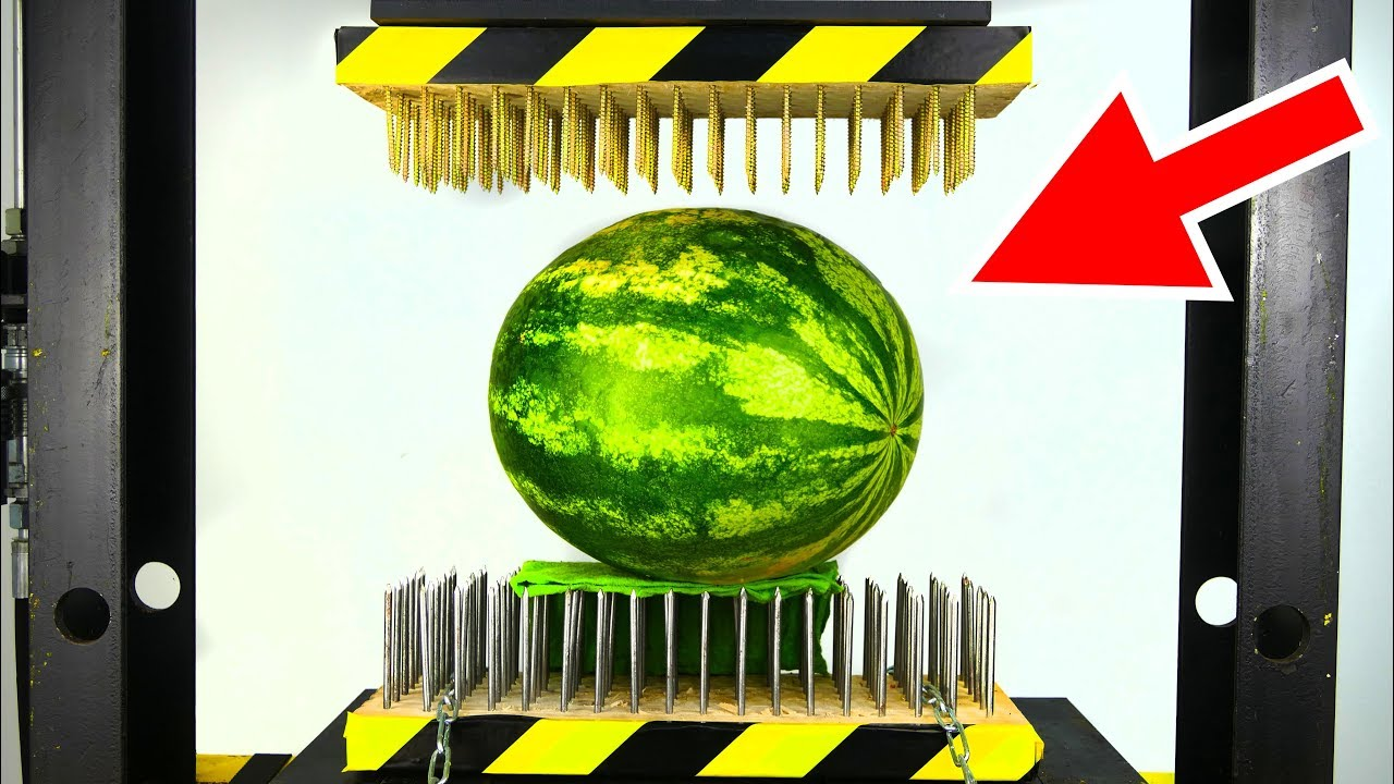 watermelon between nail beds hydraulic press experiment youtube