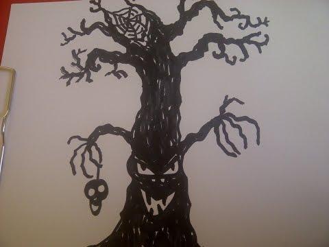 Halloween-Baum zeichnen. Zeichnen, malen lernen für Anfänger. How to paint Halloween. (Tutorial)