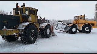 Трактор Кировец. Бью дорогу на скважину.  Тащу К-701 на ремонт.