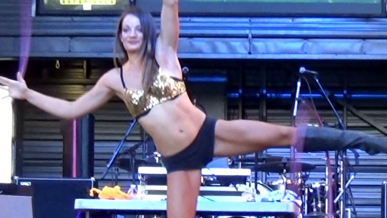 talented dancing dj go-go dancer with hula hoop at fremont street
