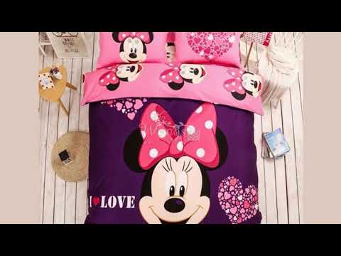 100% Cotton Lovely Disney Cartoon Mickey Minnie Mouse Bedding Set for Adult Kids 4pcs Bed Linen Incl