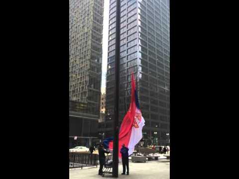 Serbian Flag in Chicago / застава Србије у Чикагу