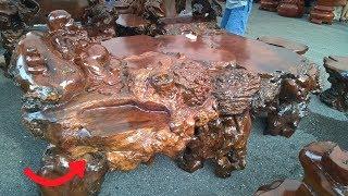"""Lạ: Cận cảnh bộ bàn ghế """"gỗ nu"""" được rao bán hơn 1 tỷ đồng tại Hà Nội!"""