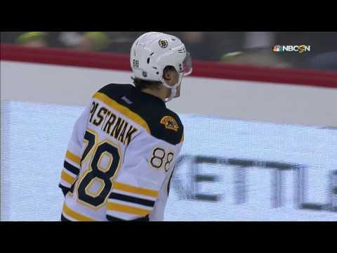 Pastrnak fights off falling Kuznetsov for nasty breakaway goal