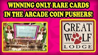 Great Wolf Lodge Arcade Coin Pushers! WINNING a Golden Ticket, ToTo, Gary the Snail RARE CARDS! WOW