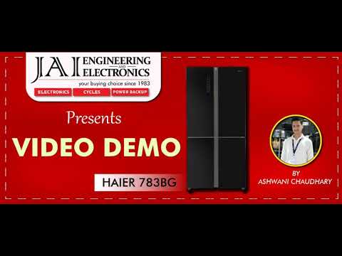 Haier HRB-738BG 4 Door Bottom Mount SBS Inverter Refrigerator, 712 L, Black Glass (Video Demo)