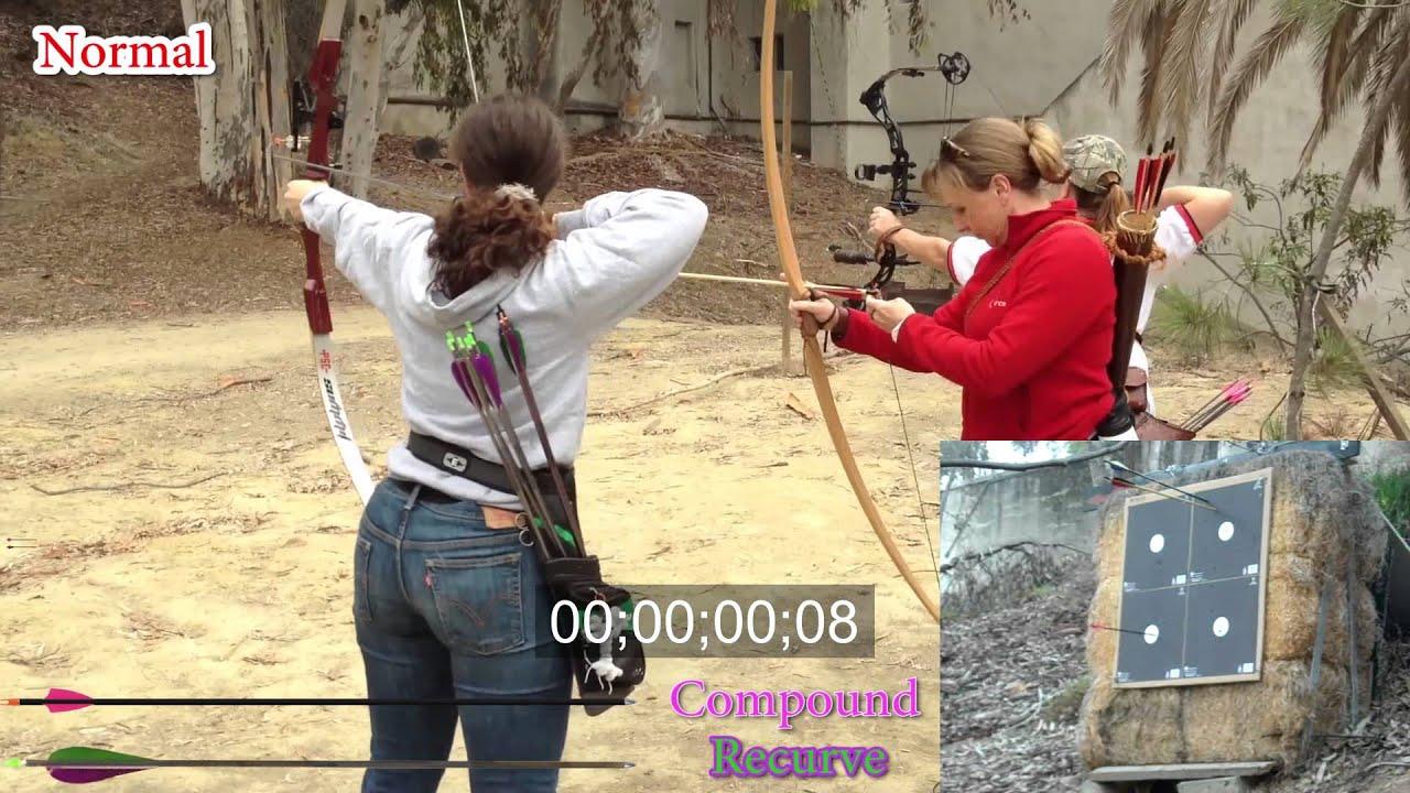 Arrow race 1of2, recurve vs  compound bow