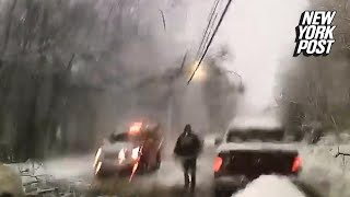 Emergency crew nearly electrocuted by fallen power line | New York Post