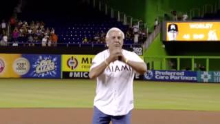 Video Ric Flair Throws First Pitch At Marlins Game download MP3, 3GP, MP4, WEBM, AVI, FLV November 2017